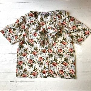 VINTAGE 90's Floral Ruffled Flowy Pull Over Blouse
